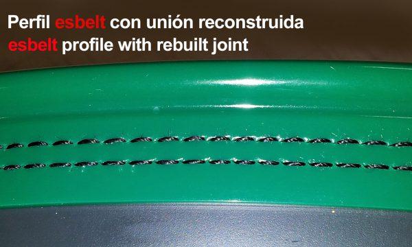 Esbelt profile with rebuilt joint for curved belts