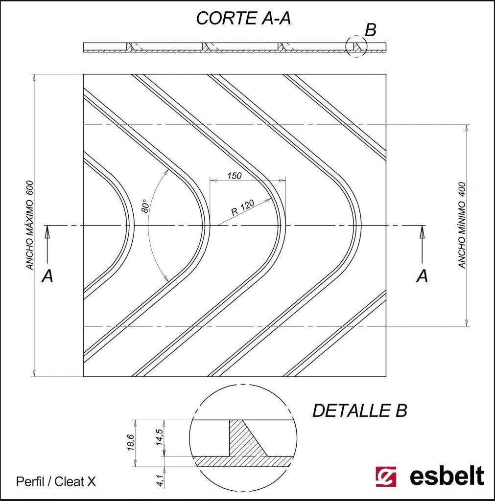 Esbelt Conveyor Belt - Herringbone X cleat