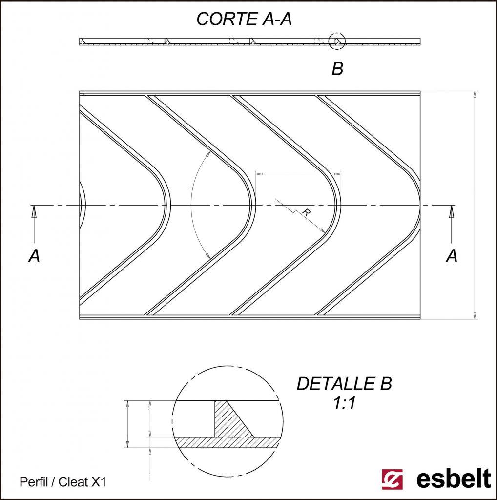Esbelt Conveyor Belt - Herringbone X1 cleat