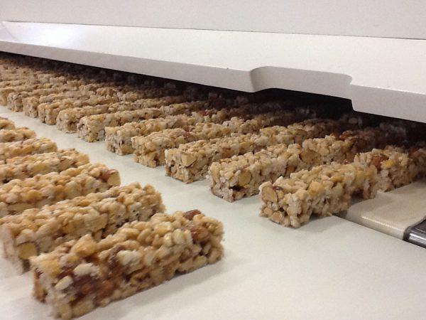 Conveyor belts for granola bar production.