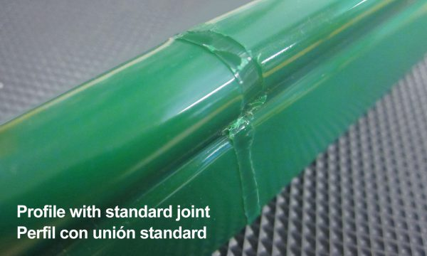 Esbelt curved belt profile with standard joint